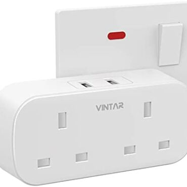 [1-pack] VINTAR Double Tear Adaptor with 2 USB, 2 Skill Plugs Extension Multi Sockets Wall Charger Adapter, 13A UK 3 Pin Vitality Socket for Bedroom, Place of work, Kitchen, White