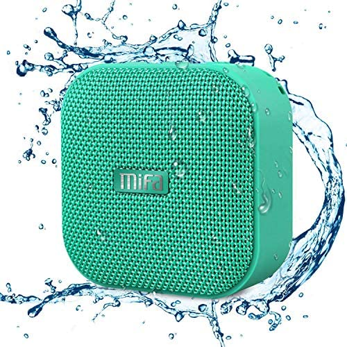 Mini Bluetooth Speaker, MIFA IPX6 Waterproof Bluetooth Bathe Speaker with DSP Bass Sound, 15 H Playtime, Minute Speaker Wi-fi with Micro SD Slot, Audio -in Port and Microphone