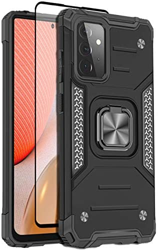 Teayoha Case for Samsung Galaxy A72 5G,Defense power Grade Heavy Armored Protection Cell phone Case. Anti-tumble Check Keeping Conceal with Magnetic Ring Stand with Tempered Glass Camouflage Protector,Shadowy