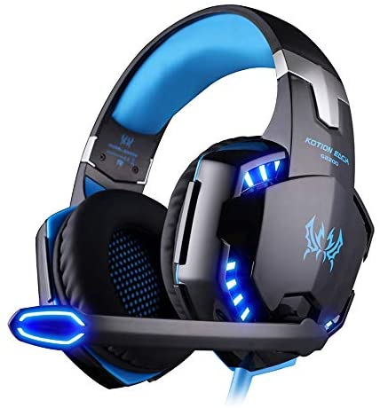 EasySMX Tickled LED 3.5mm Stereo Gaming LED Lighting fixtures Over-Ear Headphone Headset Headscarf with Mic for PC Pc Game with Noise Cancelling & Volume Control