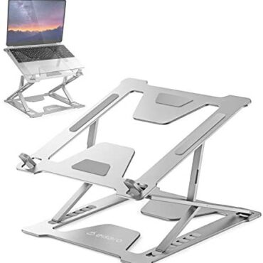 Computer computer Stand Adjustable, Ventilated Transportable Computer computer Riser Aluminum Foldable Ergonomic Computer Holder Esteem minded with Mac MacBook Air Educated, iPad, Lenovo, HP, Dell, 10-15.6″ Notebook, Silver