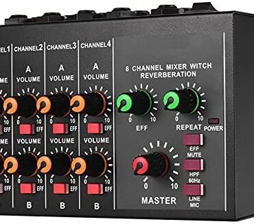 Audio Mixer 8-channel Mono/Stereo Audio Sound Mixer With Reverberation Characteristic 60Hz Frequency Slicing for Are living Streaming (Colour : Shaded, Size : One size)