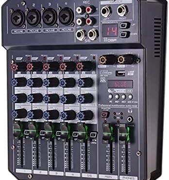 QuRRong Audio Mixer 6-Channel Mixing Console Constructed-in 16 DSP 48V Phantom Energy Helps BT Connection MP3 Player for Are dwelling Streaming (Coloration : Shaded, Dimension : One size)