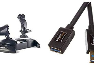 ThrustMaster T.Flight Hotas One Flight Stick for Xbox One and Home windows(Gloomy) & Amazon Fundamentals USB 3.0 A-Male to A-Female Extension Cable 3 m / 9.8 Feet
