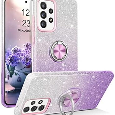 YINLAI Samsung Galaxy A52 5G Case Bling Glitter Sparkle Samsung Galaxy A52 Case for Ladies Ladies folks with 360 Grad Ring Holder Kickstand Retaining Cell phone Case for Samsung Galaxy A52 5G, Purple Gradient