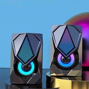 Osairous Audio system for Pc and Pc, Portable Multimedia Speaker USB Powered, Desktop Audio system with Colourful LED Light