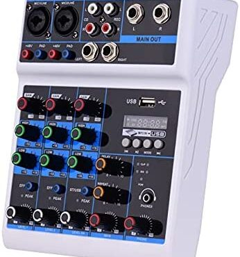 ChengBeautiful Audio Mixer 4-Channel Mixing Console With Constructed-in Sound Card Reinforce USB BT Input (Color : White, Size : One dimension)