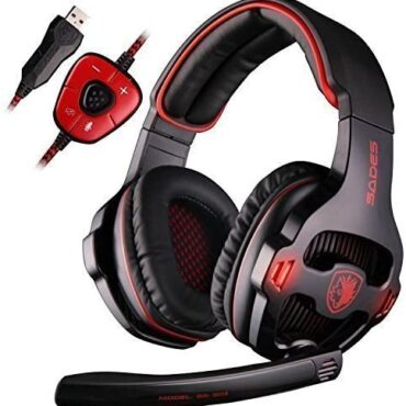 SADES SA903 7.1 Stereo Surround Sound USB PC Mac Gaming Headset Headphones with Mic Volume-Withhold a watch on LED light (Red)