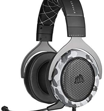 Corsair HS60 Haptic Stereo Gaming Headset with Haptic Bass, Memory Foam Earcups, Removable Microphone, Windows Sonic Delight in minded, Discord-Licensed for PC – Arctic Camo