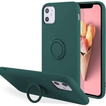 UEEBAI Case for iPhone 11 6.1 lope, Ultra Slim Liquid Silicone Case with 360 Rotatable Ring Holder Kickstand with Magnetic Vehicle Mount Gel Rubber TPU Bumper Shockproof Quilt for iPhone 11 – Murky Inexperienced