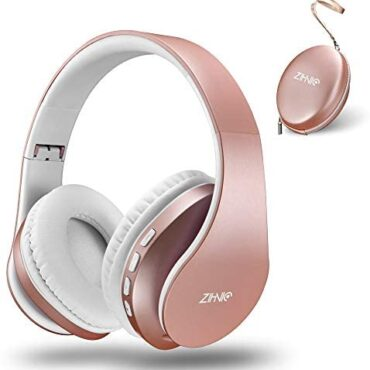 Bluetooth Headphones Over-Ear, Zihnic Foldable Wi-fi and Wired Stereo Headset Micro SD/TF, FM for Telephones/Samsung/Pads/PC,Delighted Earmuffs &Mild weight for Prolonged Sporting (Rose Gold)