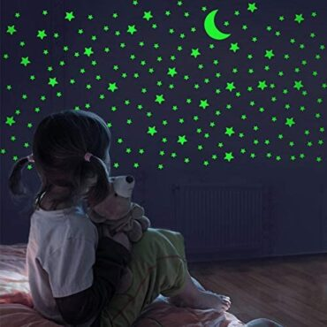 FFL DREAMS Glow in The Shadowy Stars and Moon, Life like No Dots No Squares Blueprint. 338 Star Fashioned Stickers and Moon, Brilliant Adhesives for Room, Wall, Bedroom, Illuminate Your Ceiling and Living Room