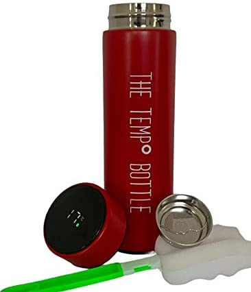 TEMP° Bottle, Double Walled Vacuum Flask, 500ml LED Temperature Existing, Insulated Child Bottle for Drink, Sizzling & Cool Sport Drink Bottle for Cycling, Gym, Dwelling, Discipline of job, and on The-lunge (Rose Red)