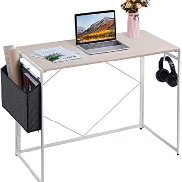 Apuwe Desk, Folding Pc Desk with Storage Accumulate, Folding Desk Gaming Situation of job Desk with Headphone Hook, 39.3″ PC Table Work Situation for Dwelling Situation of job – No Meeting – Oak