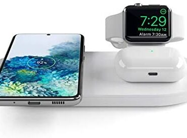 seacosmo 3 in 1 Wireless Charger Pad for Apple Explore Nightstand Mode for iWatch 5/4/3/2, QI Trim Immediate Charging for iPhone Samsung Huawei and other Qi-Enabled Telephone, AirPods Charging Dwelling – White
