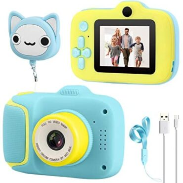 Dhaose Kids Camera, Kids Digital Cameras With 2.0 proceed IPS HD Hide conceal 1080P Video Recorder Lanyard Anti-Plunge Form Mini Helps Diminutive Video games USB Transfers Boys Girls Creative Competition gifts