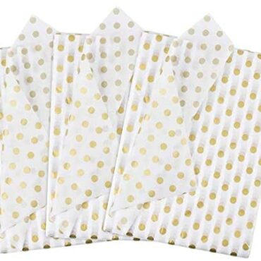 DECARETA Tissue Paper Sheets 50 Sheets Present Wrapping Tissue Paper,White Yule Wrapping Paper,with Gold Polka Dots,Birthday Wrapping Paper Packing,Tissue Paper for DIY Crafts Items Yelp (20x28inch)